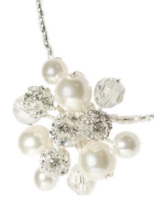 Collier de mariée en perles nacrées et boules de strass
