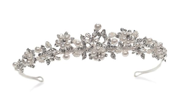 Diadème en perles nacrées et cristal Sophie