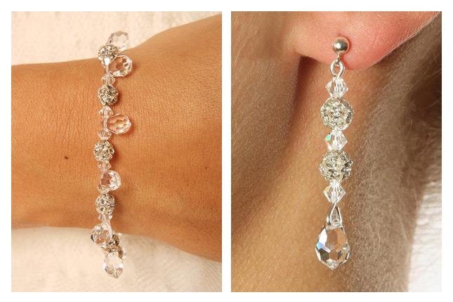 Bracelet et boucles d'oreilles mariage Princesse d'un Jour