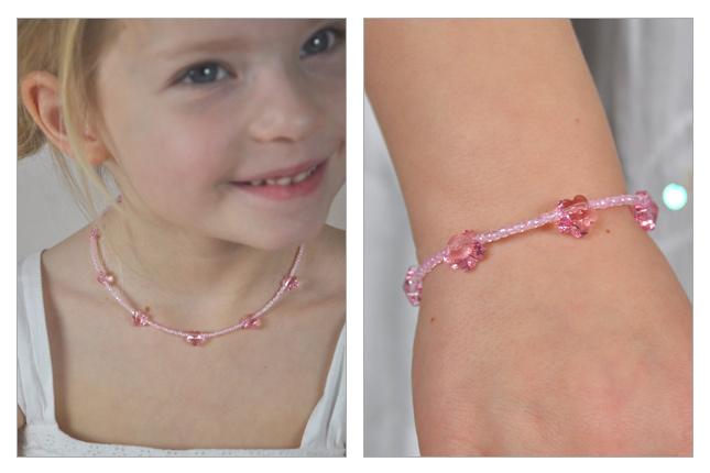 Collier et bracelet enfant avec fleurs Swarovski