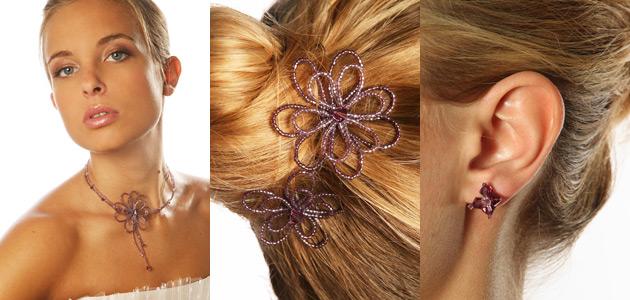 Bijoux de mariée violet