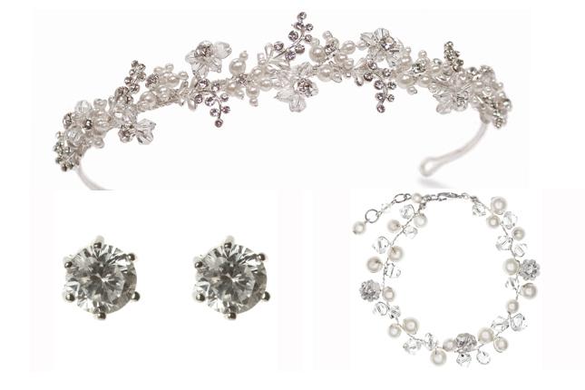 Ensemble diadème, boucles d'oreilles et bracelet de mariage