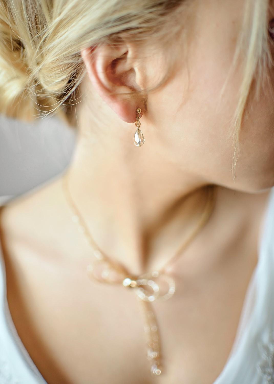 Boucles d'oreilles mariée Alice miel