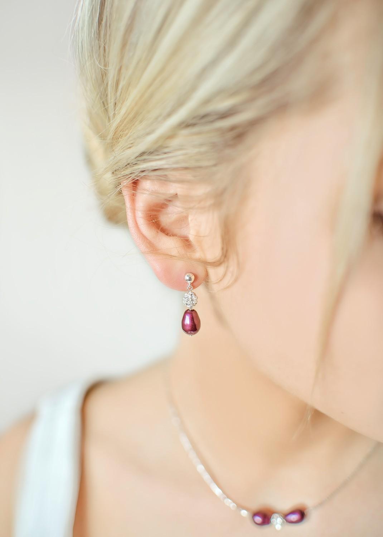 Boucles d'oreilles mariage Anna aubergine
