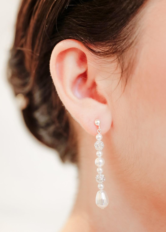 Boucles d'oreilles mariage Anna longues