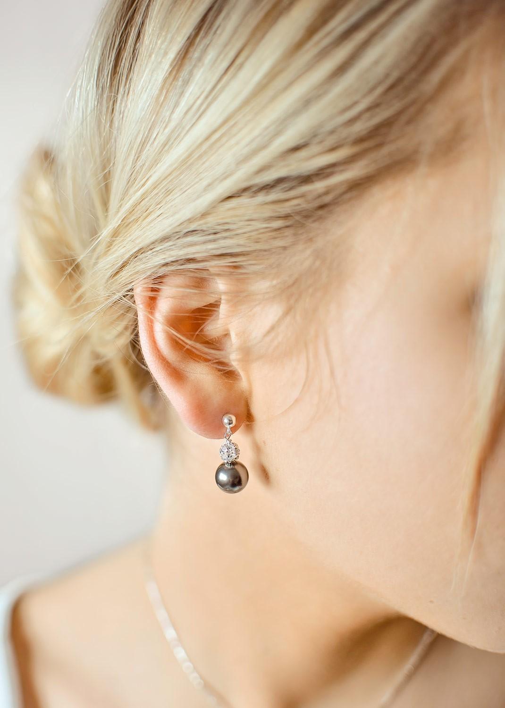 Boucles d'oreilles mariage Charlotte noir