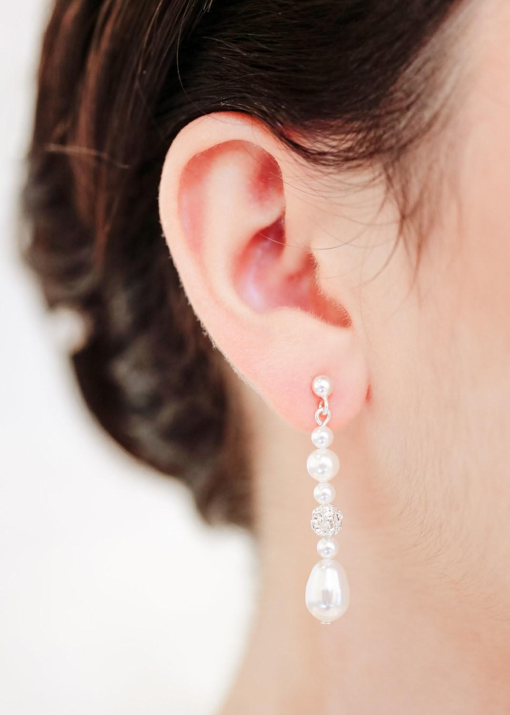Boucles d'oreilles mariage Anna mi-longues