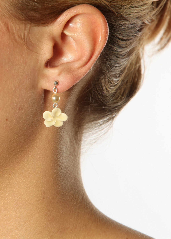Boucles d'oreilles mariage Fleur de tiaré