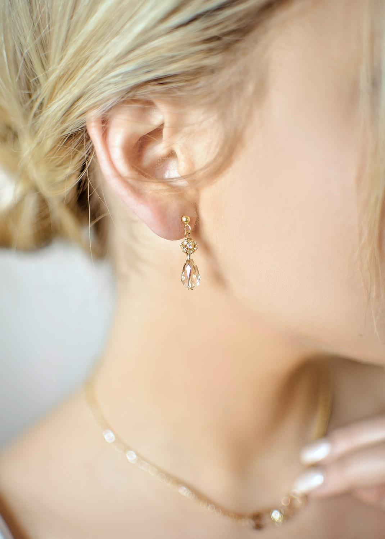 Boucles d'oreilles mariée Jessica miel