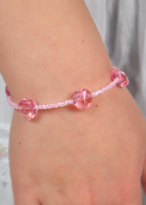 Bracelet enfant Petits Coeurs rose