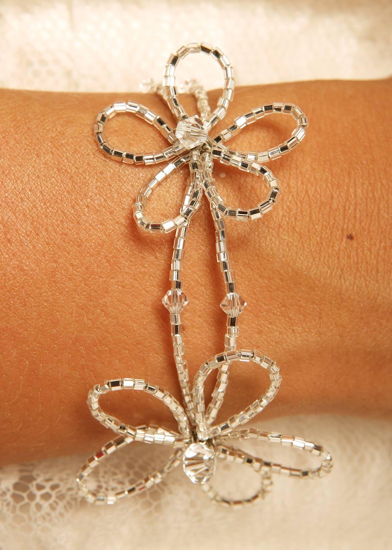 Bracelet mariage Fleur de cristal