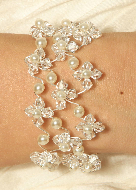 bracelet mari e en cristal et perles en cristal swarovski elements starlight perles princesse. Black Bedroom Furniture Sets. Home Design Ideas