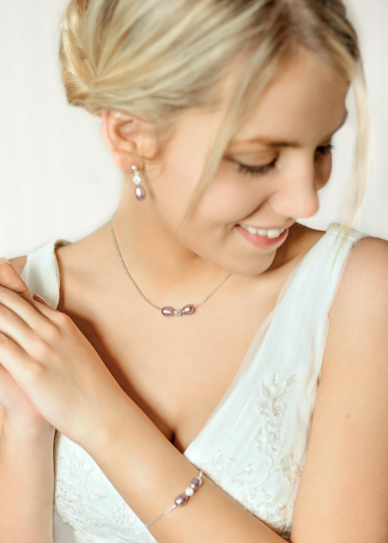 Collier de mariée Anna lilas