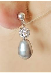 Boucles d'oreilles mariée Anna gris perle