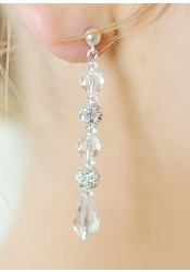 Boucles d'oreilles mariée Sparkle longues