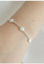 Bracelet cortège enfant coeur nacre