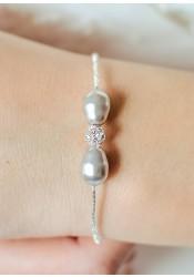 Bracelet mariée Anna gris perle