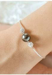 Bracelet mariée Charlotte noir