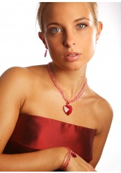 Collier mariage Coeur d'Amour rose