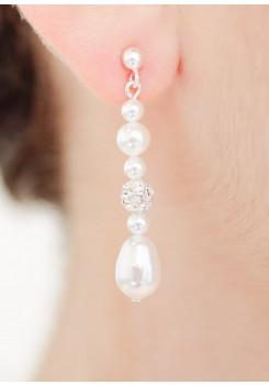 Boucles d'oreilles mariée Anna mi-longues