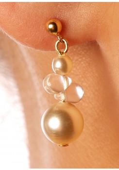 Boucles d'oreilles mariage Estella crème