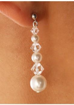 Boucles d'oreilles mariage Perles et Cristal