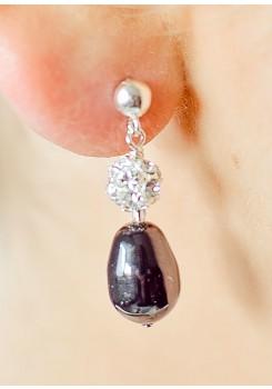 Boucles d'oreilles mariée Anna noir