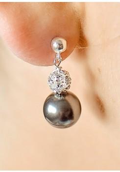 Boucles d'oreilles mariée Charlotte noir