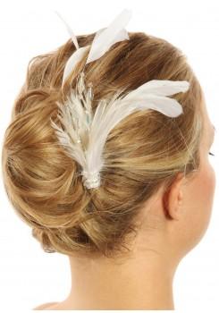 Accessoire cheveux plumes mariage