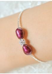 Bracelet mariage Anna aubergine