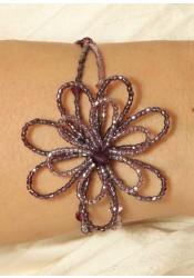 Bracelet mariage Camélia mauve