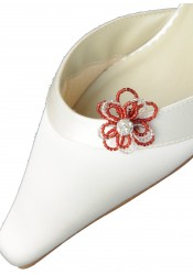 Clips chaussures Camélia bordeaux argent